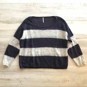 Free People Blue White Striped Knit Sweater Top